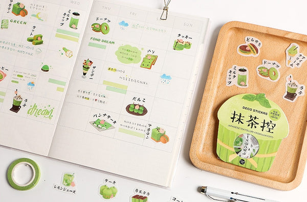 Pattern [Japanese Green Matcha Tea] Deco Stickers Pack