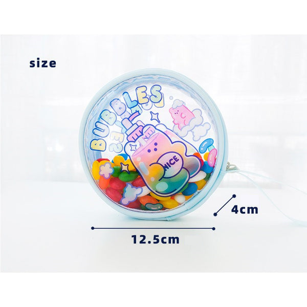 Jelly Bean Bear [Bear Shell] Round Pouch By Milkjoy