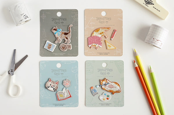 Journal Cat [Travel Cat] Embroidered Sticker Patch