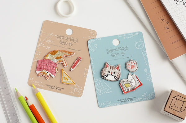 Journal Cat [Super Scholar Cat] Embroidered Sticker & Iron-On Patch