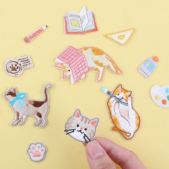Journal Cat Embroidered Sticker & Iron-On Patch