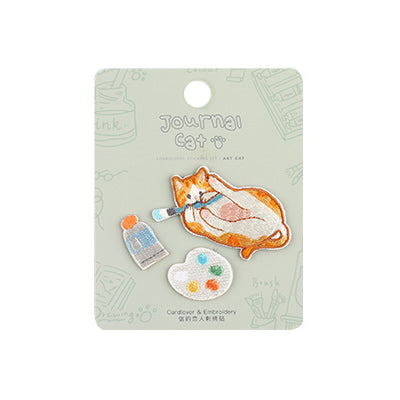 Journal Cat Painter Art Cat Embroidered Sticker & Iron-On Patch