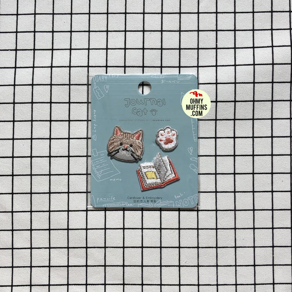 Journal Cat Reading Cat Embroidered Sticker & Iron-On Patch