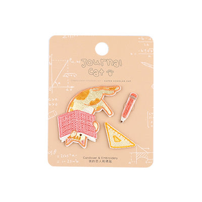 Journal Cat Super Scholar Cat Embroidered Sticker & Iron-On Patch