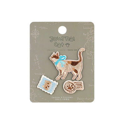 Journal Cat Travel Cat Embroidered Sticker & Iron-On Patch