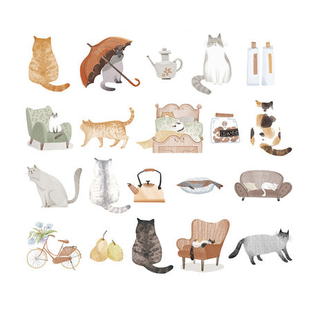 Elegant Kitty Cats Sticker Pack
