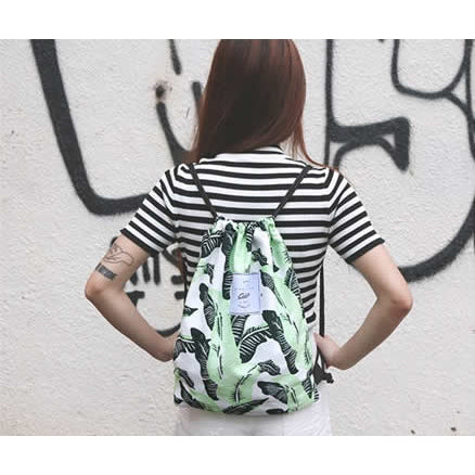Leaves [Banana Leaves] Drawstring Backpack By Colourup
