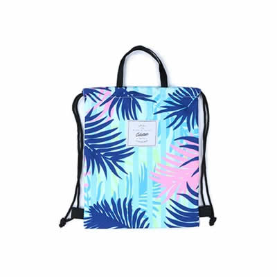 Leaves [Blue Leaves] Drawstring Backpack By Colourup