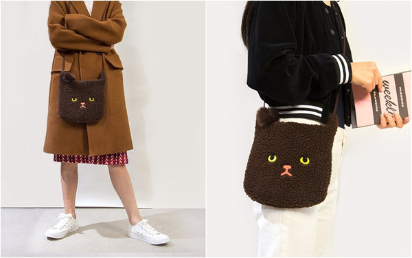 Brown Cat Miss Cat Sling Bag By Bentoy