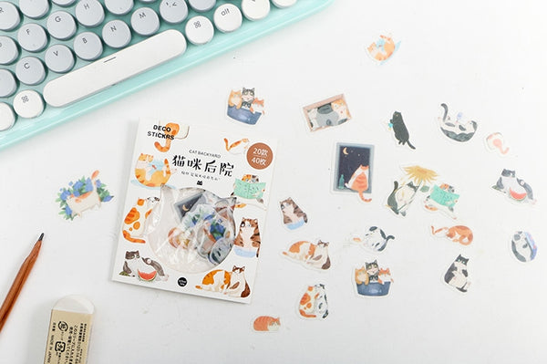 Animal [Cat Backyard] Deco Stickers Pack