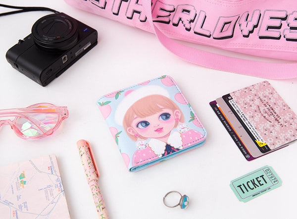 Dolly Girl [Blue Peach] Mini PU Leather Wallet By Milkjoy