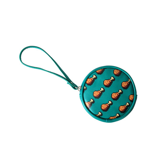Pixel Food Drumstick Green Coin Pouch by Kiitos Life
