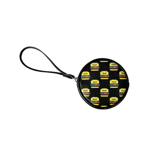 Pixel Food Hamburger Black Coin Pouch by Kiitos Life