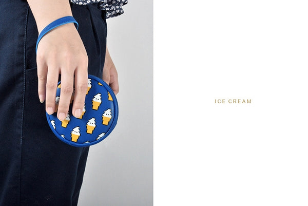 Pixel Food Ice Cream Blue Coin Pouch by Kiitos Life
