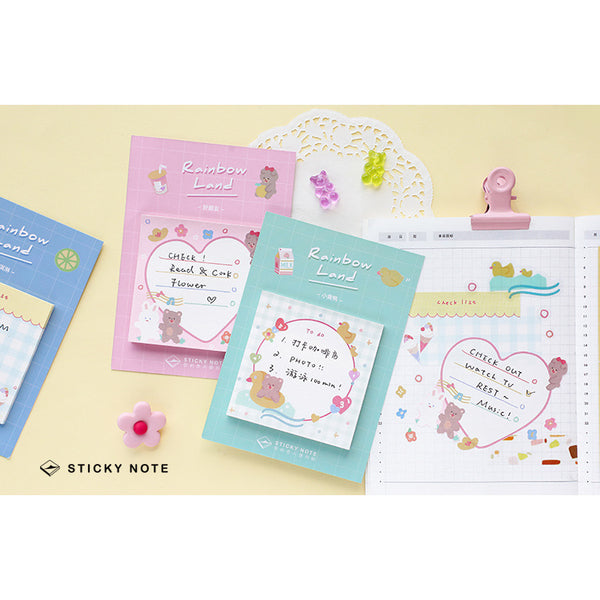 Rainbow Land [Bear Rabbit Friends] Sticky Notes