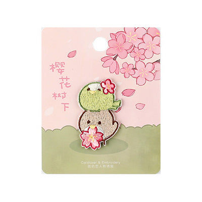 Sakura Animals Birds Embroidered Sticker Patch