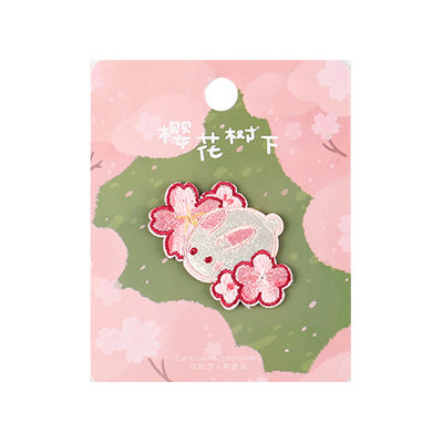 Sakura Animals Rabbit Embroidered Sticker Patch