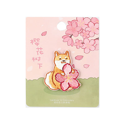 Sakura Animals Shiba Inu Embroidered Sticker Patch