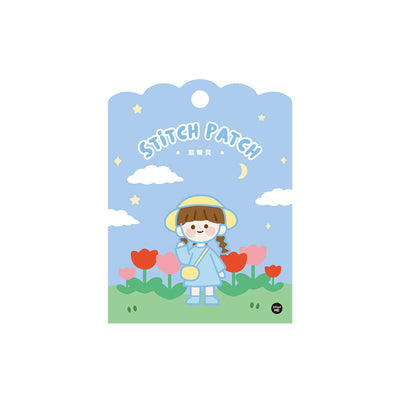 School Girl [Blue Girl] Embroidered Sticker & Iron-On Patch