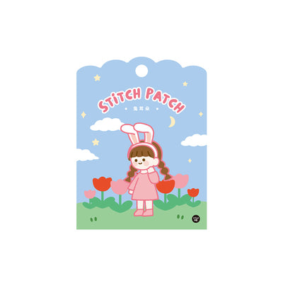 School Girl [Pink Bunny Girl] Embroidered Sticker & Iron-On Patch