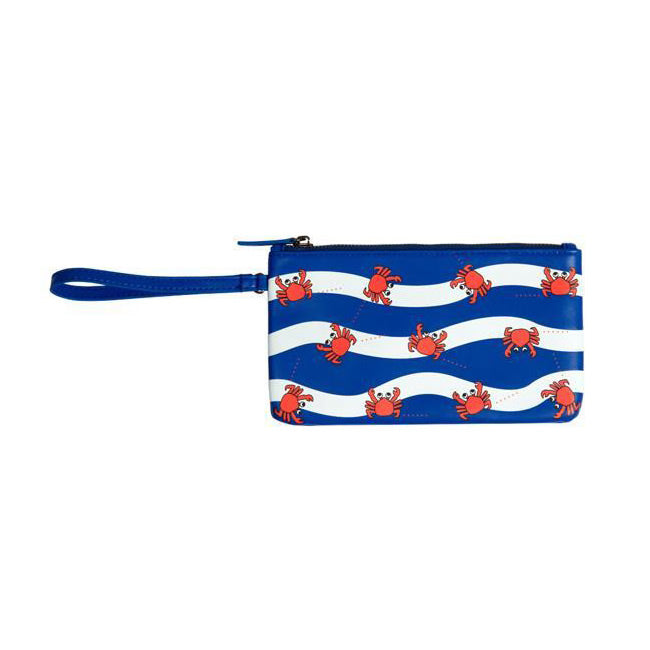 Fun At The Sea Crab Blue Flat Case Pouch By Kiitos Life