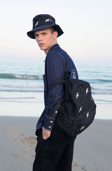 Sea Denim Backpack By YIZI