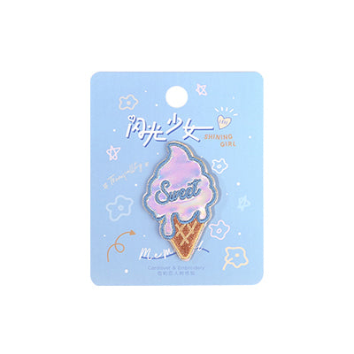 Shining Girl Sweet Ice Cream Embroidered Sticker Patch