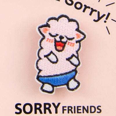 Sorry Friends Alpaca Embroidery Brooch By Bentoy