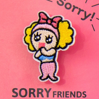 Sorry Friends Embroidery Brooch Mermaid By Bentoy
