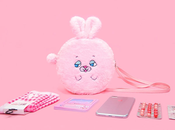 Pink Rabbit Squint Eyes Animal Crossbody Bag By Bentoy