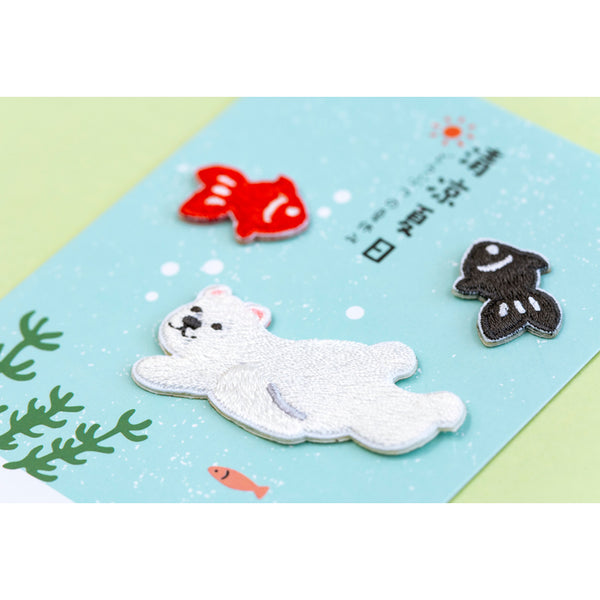 Summer Animal [Polar Bear Fishes] Embroidered Sticker Patch