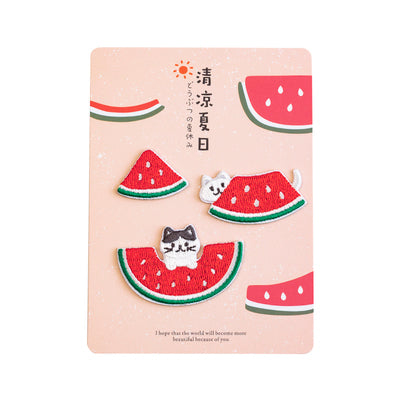 Summer Animal [Cat Watermelon] Embroidered Sticker Patch