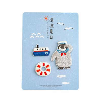 Summer Animal [Penguin Sail] Embroidered Sticker Patch