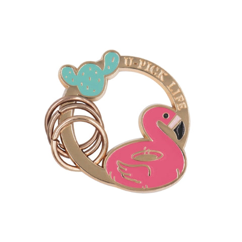 Summer Friends Holiday Key Chain By U-Pick Flamingo Cactus