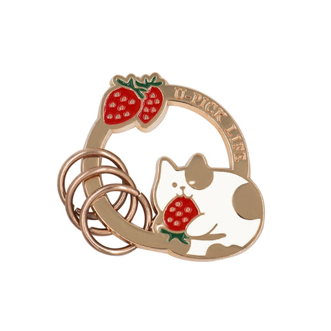 Summer Friends Cat Strawberry Key Chain By U-Pick
