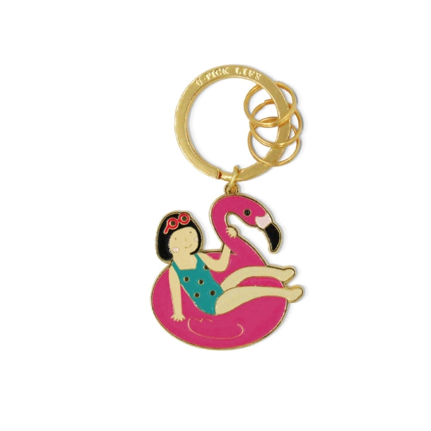 Summer Holiday [Girl On Flamingo] Key Chain By U-Pick