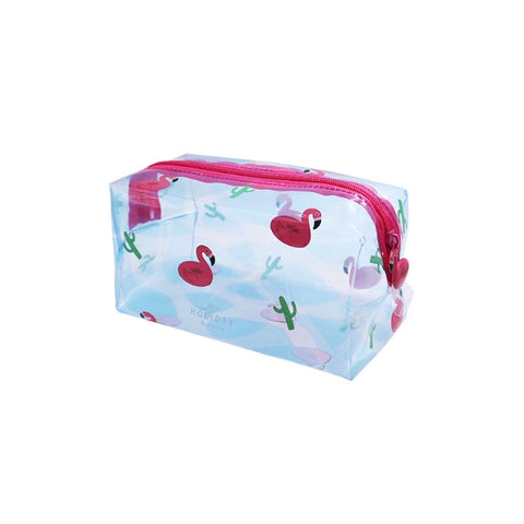 Summer Friends Transparent Box Pouch By U-Pick Flamingo Cactus