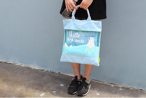 Polar Bear Transparent Tote Bag By U-Pick