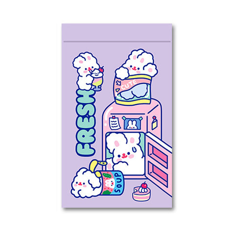 [Set of 4] Fluffy White Rabbit [Fresh] Storage Zipper Bag [Mask Storage] By Milkjoy