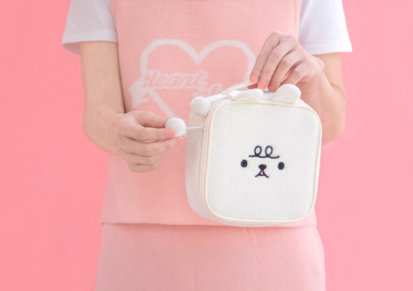 Animal White Square Pouch By Bentoy