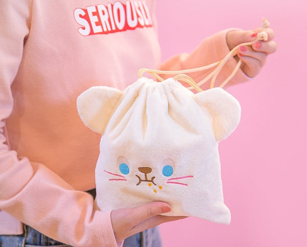 White Mouse Cutie Drawstring Pouch By Bentoy