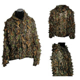 Ghillie Suit Camouflage Hunting Suits Outdoor 3D Leaf Lifelike Camo Clothing Lightweight Breathable Hooded Apparel Suit for Jungle Shooting Airsoft Woodland Photography