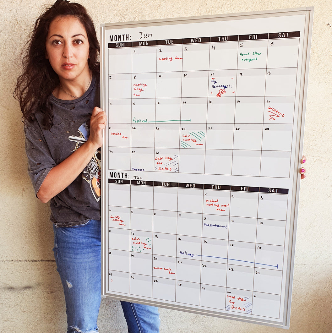Dry Erase Calendar Whiteboard: Framed Magnetic White Calendar Board with 2 Months Date Squares, 24 x 36 Inch, Ultra-Slim Silver Aluminum Frame