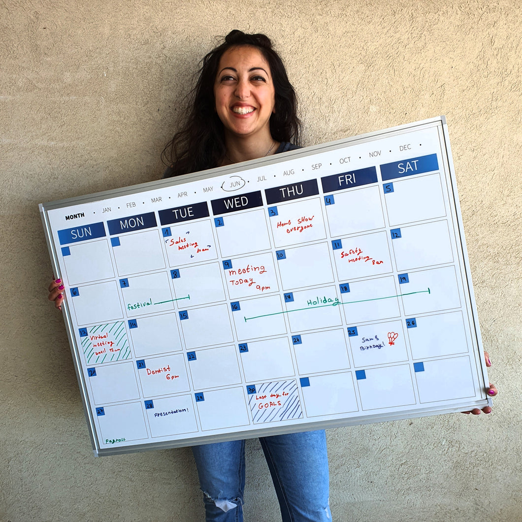 Dry Erase Calendar Whiteboard, Colorful Magnetic White Board Calendar 36 x 24 Inch, Framed Monthly Planning Board Ultra-Slim Aluminium Frame