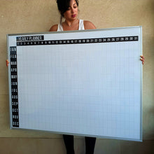 Load image into Gallery viewer, 48 x 36 Inch Dry Erase Calendar Whiteboard: Framed Magnetic White Calendar Board with Year Black Date Squares, Ultra-Slim Silver Aluminum Frame