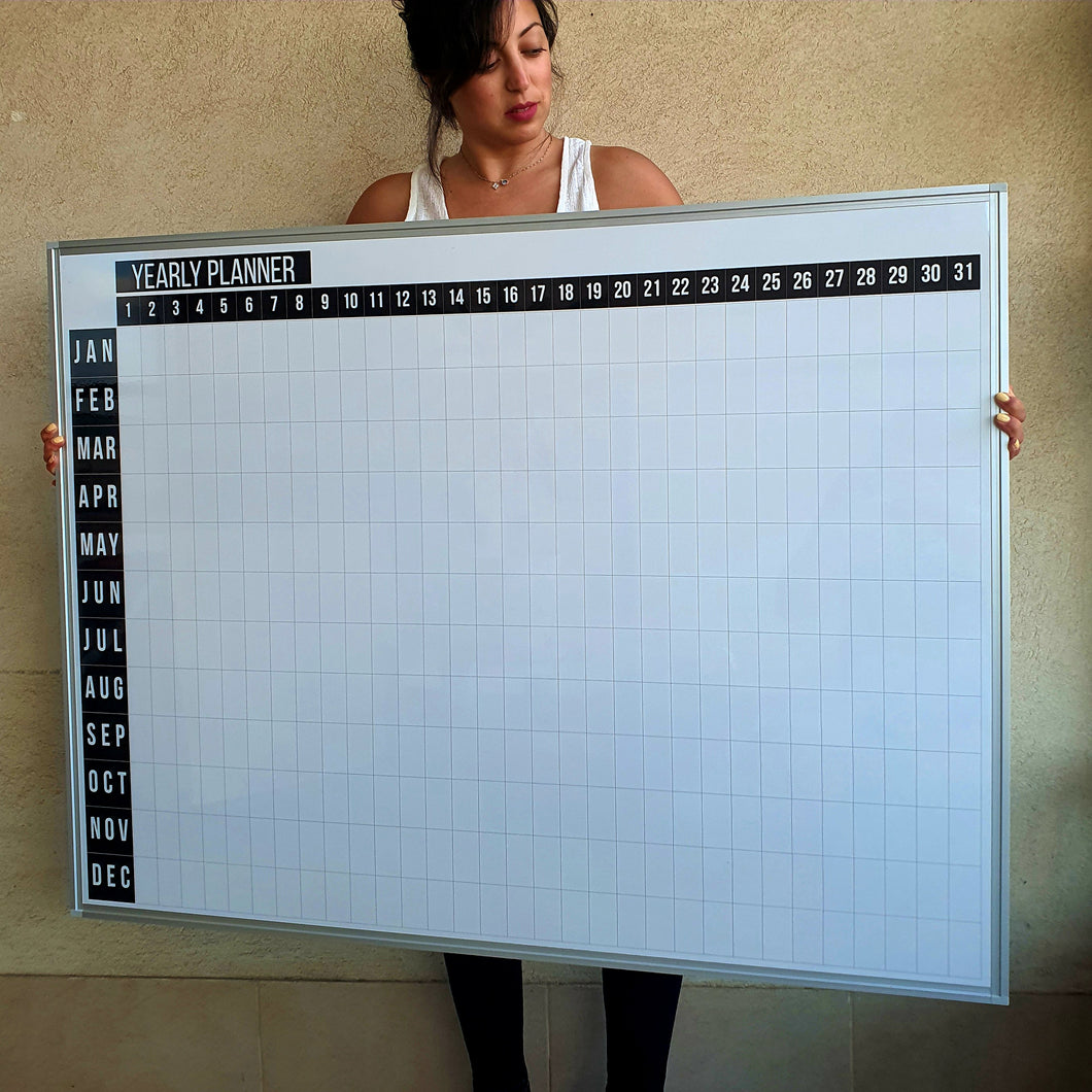 48 x 36 Inch Dry Erase Calendar Whiteboard: Framed Magnetic White Calendar Board with Year Black Date Squares, Ultra-Slim Silver Aluminum Frame