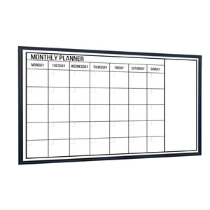 Dry Erase Calendar Whiteboard, Colorful Magnetic White Board Calendar 36 x 24 Inch, Framed Monthly Planning Board Ultra-Slim black Aluminium Frame