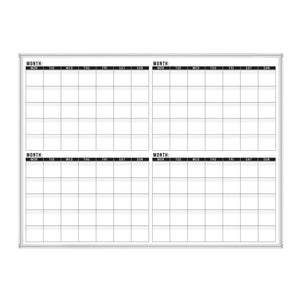 Dry Erase Calendar Whiteboard: Framed Magnetic White Calendar Board with Four Months Date Squares, 48 x 36 Inch, Ultra-Slim Silver Aluminum Frame