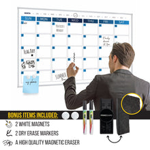 Load image into Gallery viewer, Dry Erase Calendar Whiteboard, Colorful Magnetic White Board Calendar 36 x 24 Inch, Framed Monthly Planning Board Ultra-Slim Aluminium Frame