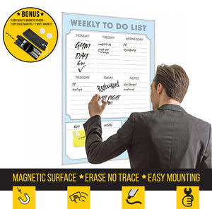 Dry Erase Calendar Whiteboard: Framed Magnetic White Board with Weekly to Do List, 24 x 36 Inch, Ultra-Slim Silver Aluminum Frame